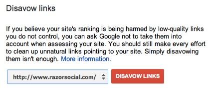 Google Webmaster Tools - Disavow Tool