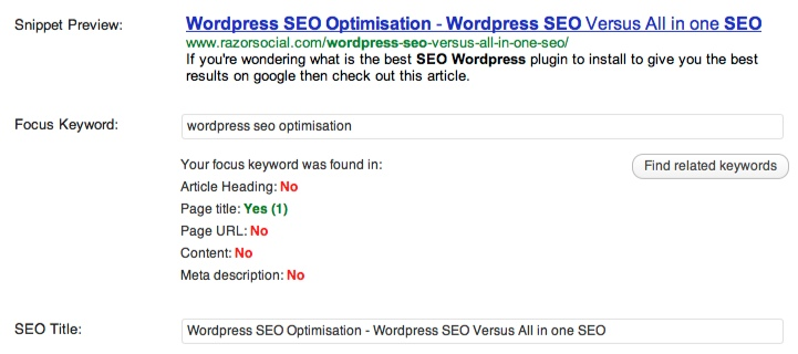 wordpress seo optimisation - Generating SEO Details