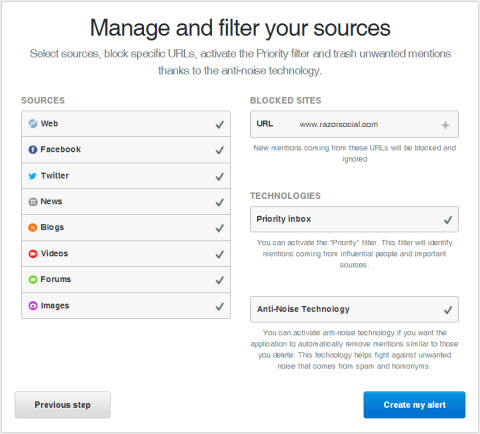 Mention - Manage and Filter settings
