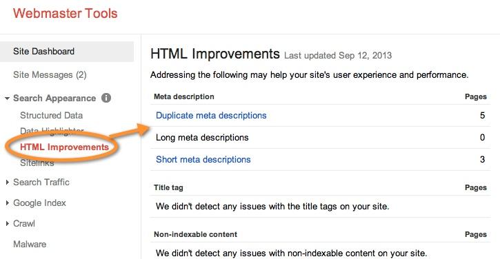 Google Webmaster HTML