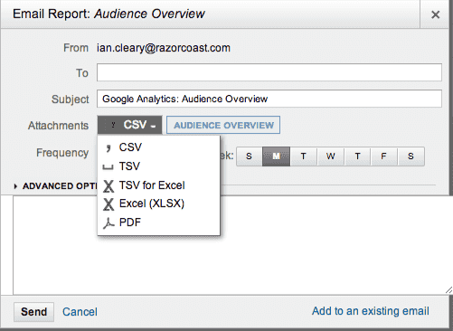 Google analytics email setup