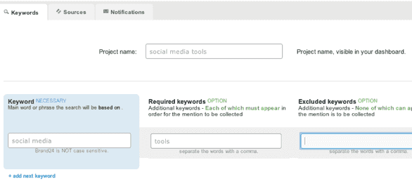 Brand24 keywords setup