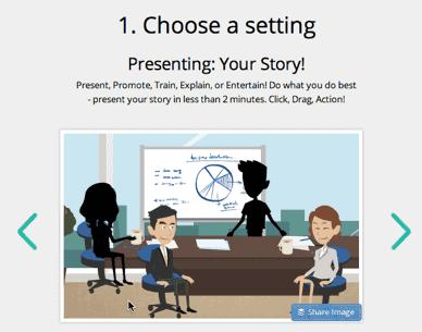 Go animate choose a setting