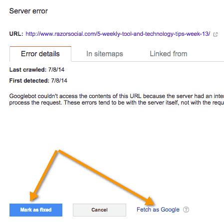 Server error details