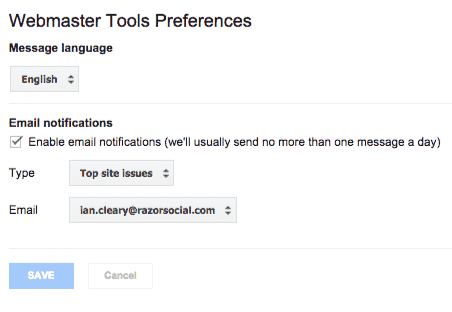 Site preferences