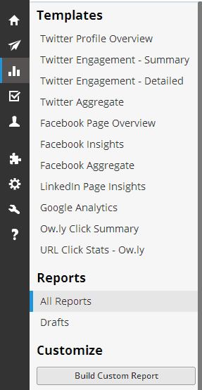 Users can choose from a series of analytics templates in Hootsuite