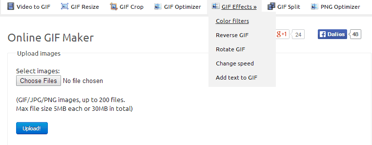 Ezgif offers different functionality options to edit and optimize GIFs
