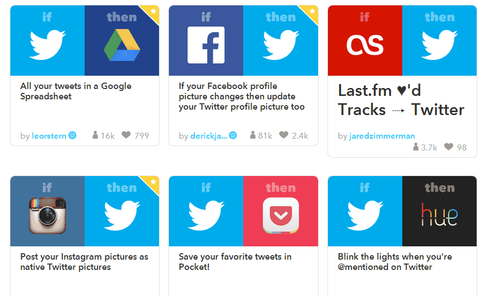 Twitter recipes on IFTTT