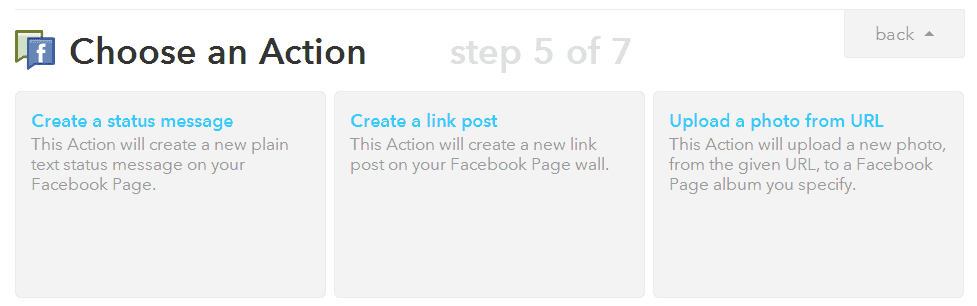 Choose an action for the Facebook Page