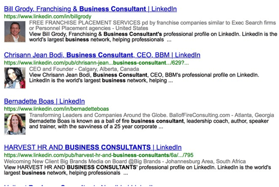 Google search for LinkedIn