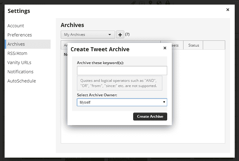 Set the parameters for Hootsuite to archive tweets