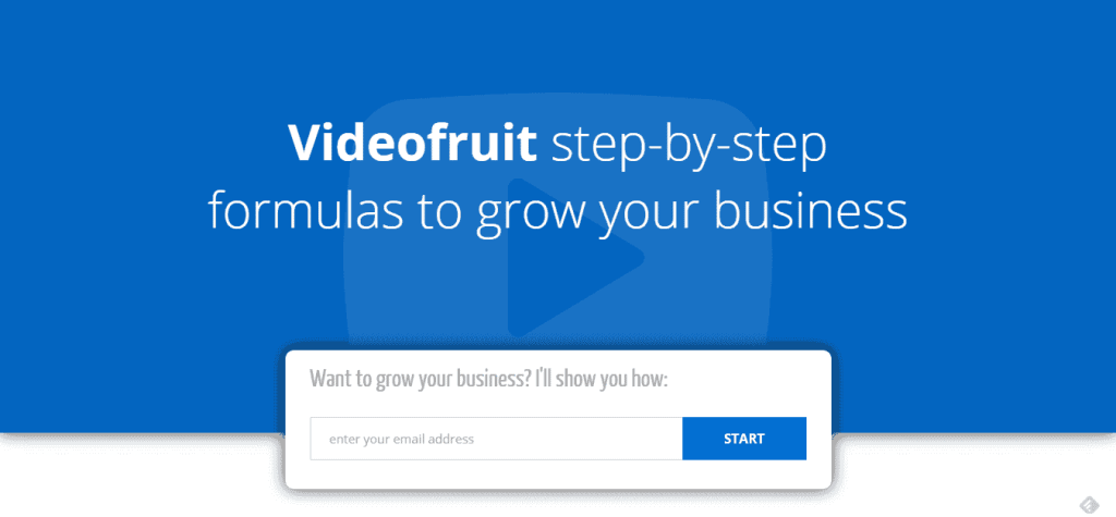 VideoFruit's landing page has no unnecessary distractions